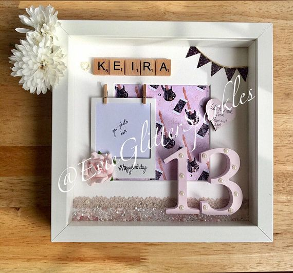 Personalised Teenage Birthday Box frame Girls Birthday Present iphone and guitar theme, Present for 13 year old girl, Present for sixteen