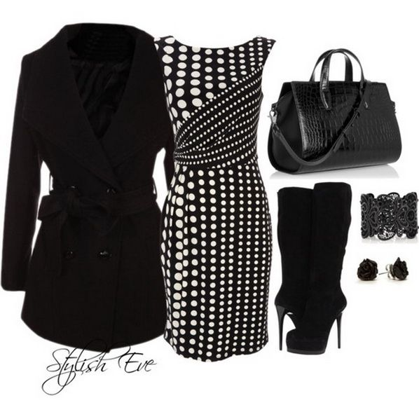 Black and white dressy outfit -- the dress is really wonderfully realized... it looks like the style may be flattering for many shapes!