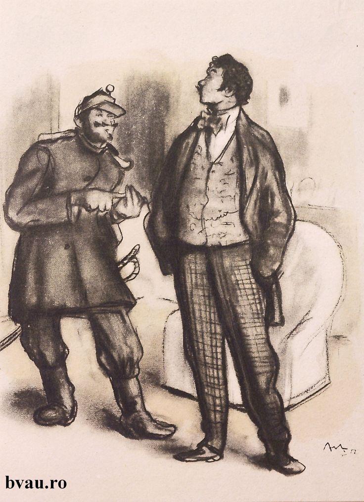"""Ilustrație de Corneliu Baba din volumul """"Teatru"""" de Ion Luca Caragiale, 1952. Imagine din colecțiile Bibliotecii """"V.A. Urechia"""" Galați."""