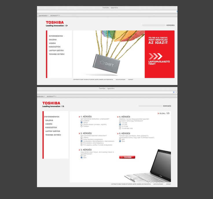 Toshiba notebook microsite