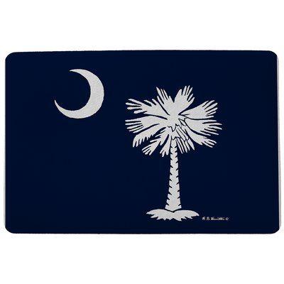 "Betsy Drake Interiors Coastal Palmetto Moon Doormat Size: 18"" H x 26"" W"