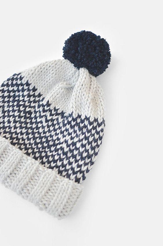 Fair Isle Beanie with Pom Pom Hand Knit Hat Womens by Plexida: