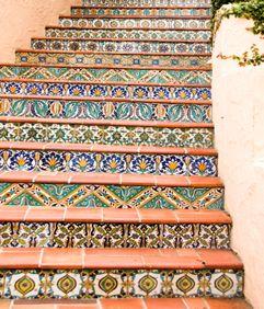 talavera tiled stairs