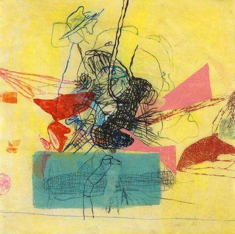 Maja Maljevic, monoprint-spitbite, ink and crayon