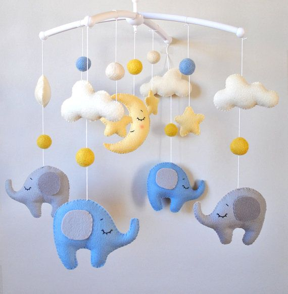 Baby mobile elephants Clouds Stars Nursery mobile Baby boy mobile Elephant baby shower gift Boy nursery decor Crib Cot mobile 100% wool felt