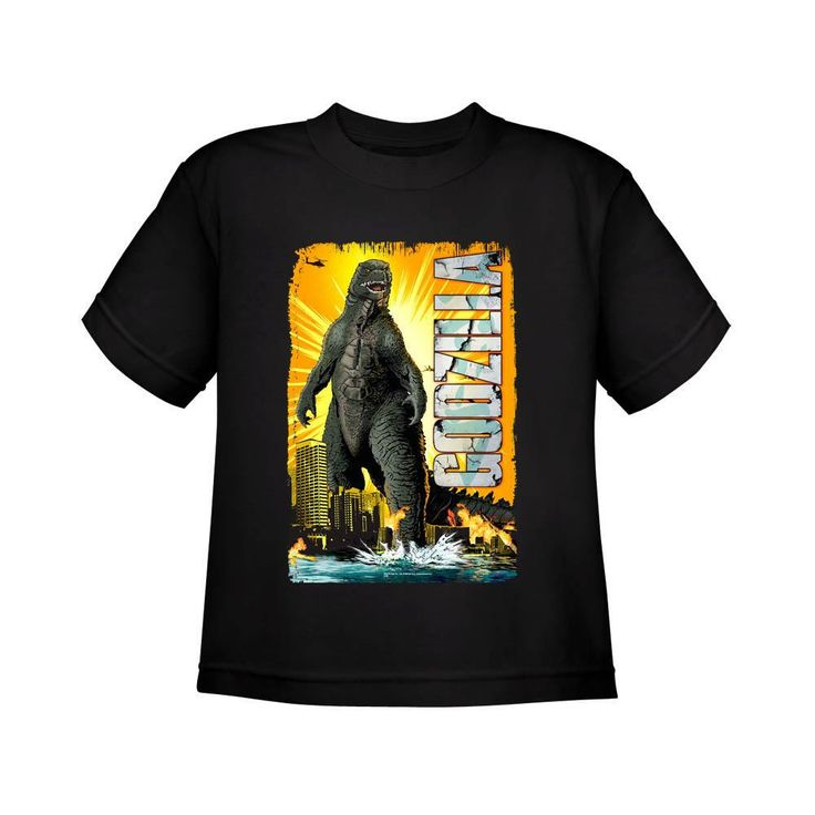 #harrypotter #hannabarbera Godzilla Comic Style Youth Black T-Shirt from Warner Bros.: Inspired by classic comic book art, this… #batman