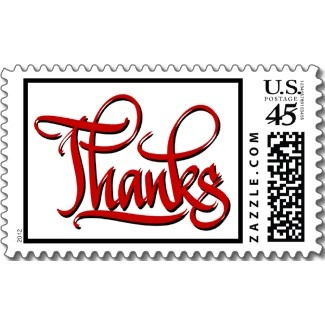 Calligraphy Font Thanks Postage Stamp Great For Thank You Notes And Weddings