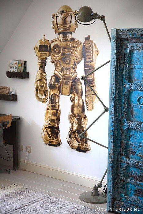 Jongenskamer Robot Boysroom boucherouite, Jielde lamp, kast. Ontwerp en styling jonginterieur.nl