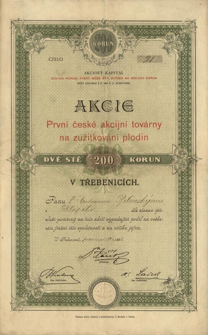 První česká akcijní továrna na zužitkování plodin v Třebenicích. Akcie na 200 Korun. Třebenice, 1895.