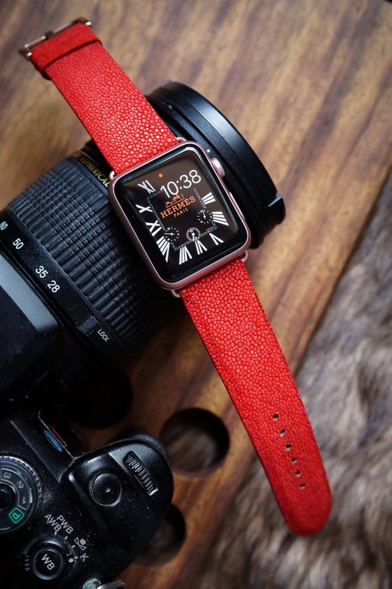f6f245812 Exotic Red Stingray Leather Apple Watch Band fits 42mm Apple Watches Series  3,2,1 Sport Edition and