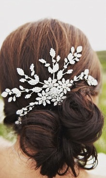 Perhaps a beautiful pin instead of a veil? This is just lovely.
