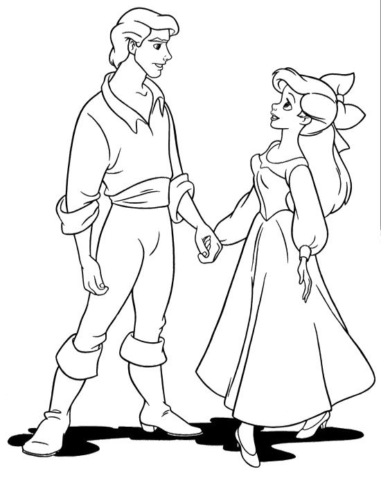 Eric Holding Hands Ariel Coloring Pages