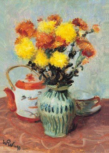 "Wojciech Weiss (Polish, 1875-1950) - ""Martwa natura z wazonem chryzantem"" (Still life with a vase of chrysanthemums)"