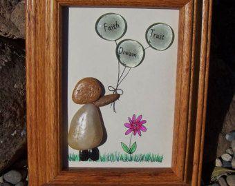 Un galet de verre Art Rock Art amis par mitchellcreations