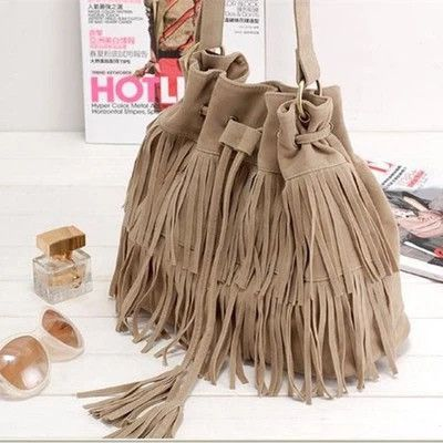 Large Fringed Cross-Body Vagabond Handbag