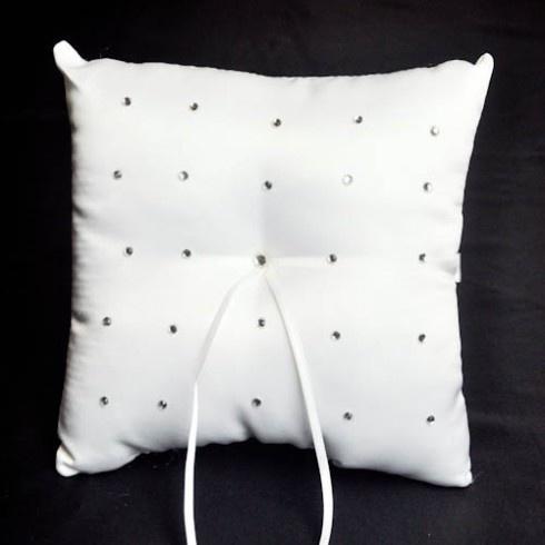 White diamonte pattern wedding ring pillow