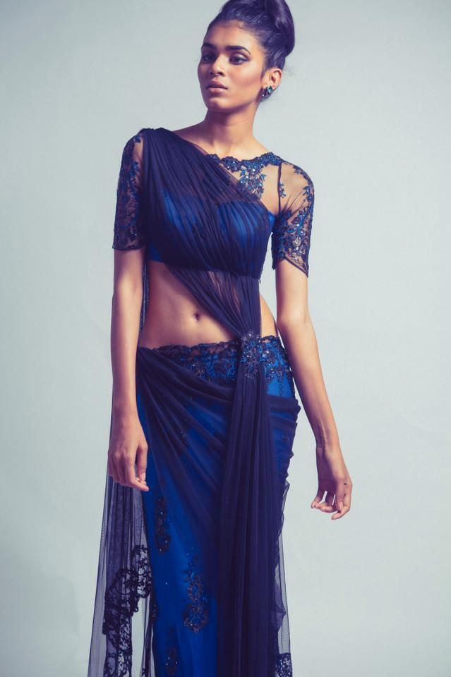 blue lengha saree