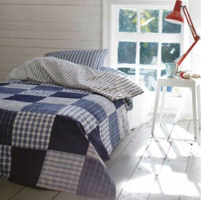 OCTOBER COASTAL: Lunghi Bedspread £75 from www.starfishbay.co.uk.