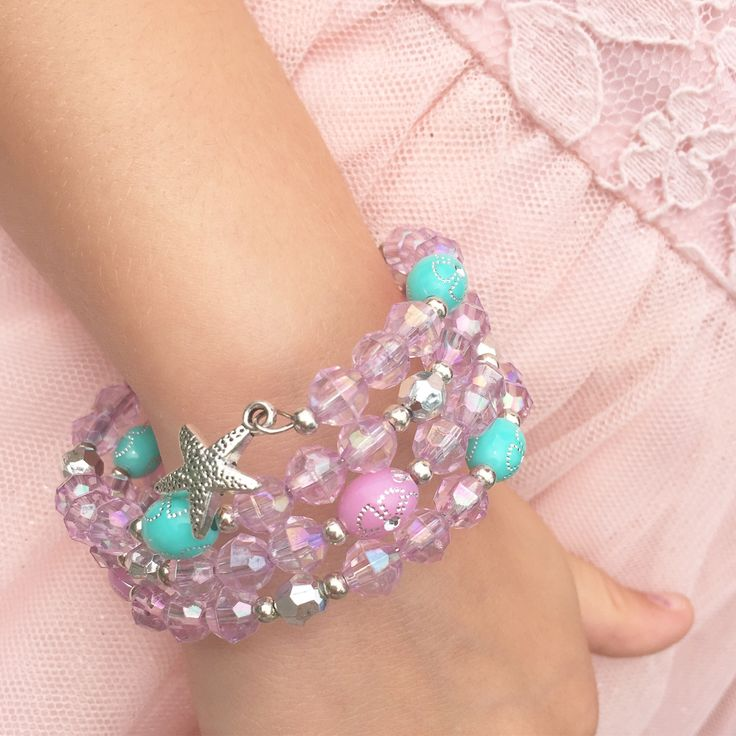 Jewelry Making Birthday party kits by Beading Buds.  Blue and pink bracelet with star charm.