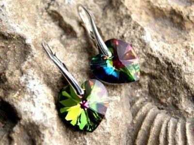 Srebrne Kolczyki Serca Swarovski Heart. 25 Kolorów. Srebro p.925. #earrings #kolczyki #Swarovski