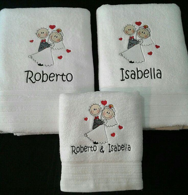 Toallas para novios bordada #amor #romance #regalo #romántico #matrimonio #toalla #bordado #novios