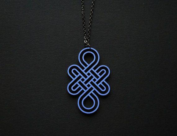 Eternity knot necklace serenity wood pendant by elfinadesign