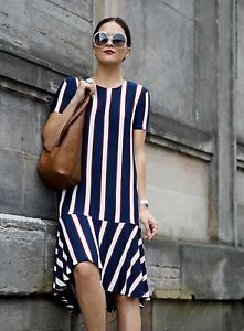 BNWT-ZARA-Striped-Dress-with-Frill-MIDI-Lafotka-SIZE-M-blue-red-white-cream