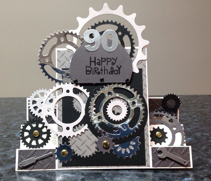 Cogs and spanner card, 90 th birthday