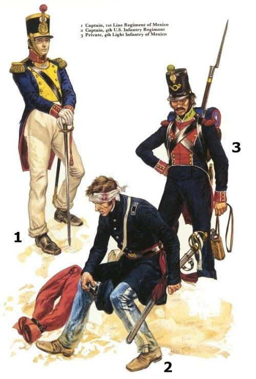 MEXICAN WAR UNIFORMS -1-Capt,1st Line Reg. of Mexico; 2-Capt 4th US Infantry Reg; 3-Private, 4th Light Infantry of Mexico