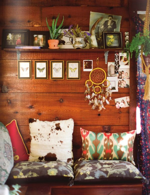 : Boho Chic, Dreams Catcher, Cabins, Rue Magazines, Reading Nooks, House, Wood Wall, Bohemian, Pillows