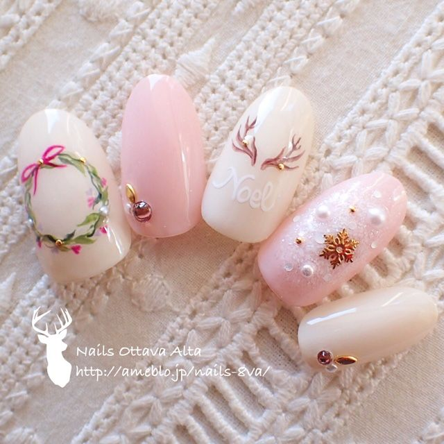 Christmas pink nails #nailbook More Luxury Beauty - winter nails - http://amzn.to/2lfafj4