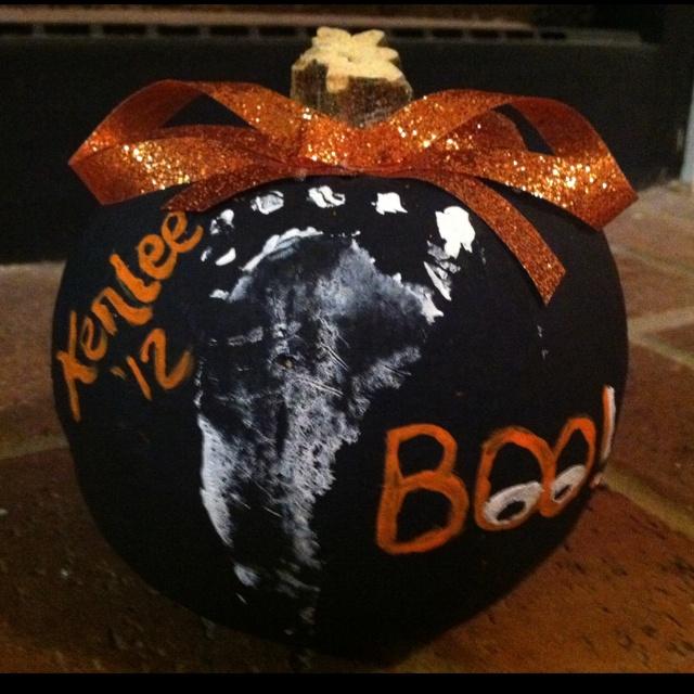 babies first halloween do on craft store pumpkin for a permanent keepsake