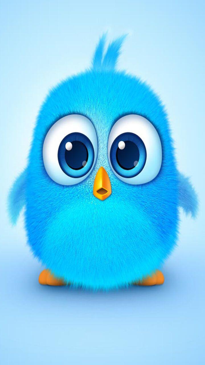 angry bird cute blue