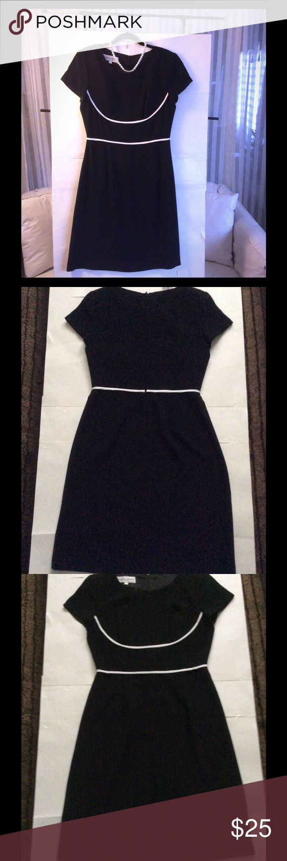 Donna Ricco Black and White Dress Donna Ricco Black Dress with white piping around waist and chest Donna Ricco Dresses