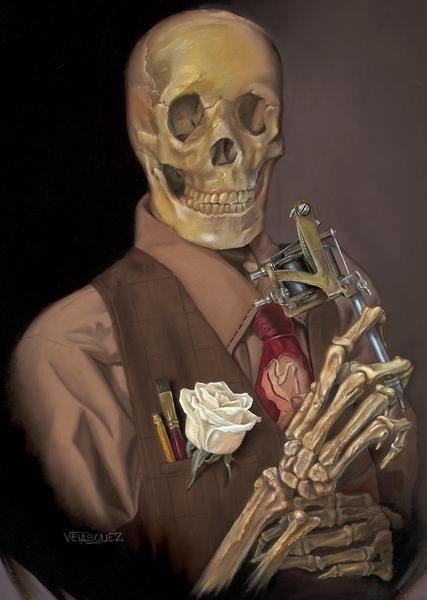 Old Timey by Anthony Velasquez Skeleton w Tattoo Gun Canvas Art Print