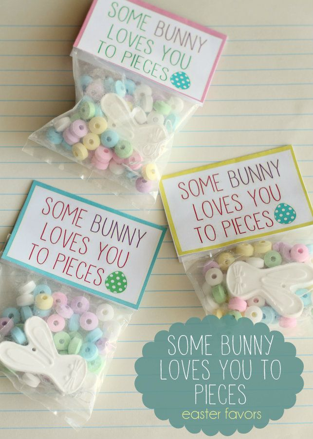 Super cute Easter party Favors - Some Bunny Loves You to Pieces! Free prints on { lilluna.com } #easter