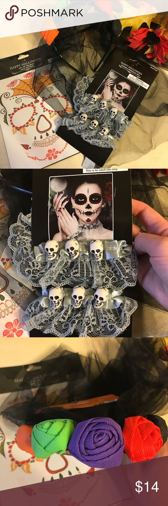 Day Of The Dead sugar skull set All brand new Day Of The Dead Halloween sugar skull beauty set! Includes one multi colored flower headband with veil, one silver/gray Lace and skull bead Choker and bracelet set and one temporary face tattoo decal! Great for costumes and parties! Accessories Hair Accessories