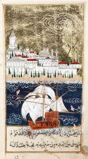 İstanbul Boğazı'ndan Topkapı Sarayı'na bakış Minyatür-Taner Alakuş Minyatür Atölyesi