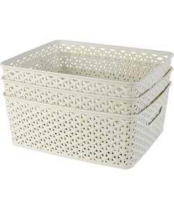 Set of 3 Rattan My Style Storage Boxes - Vintage White.