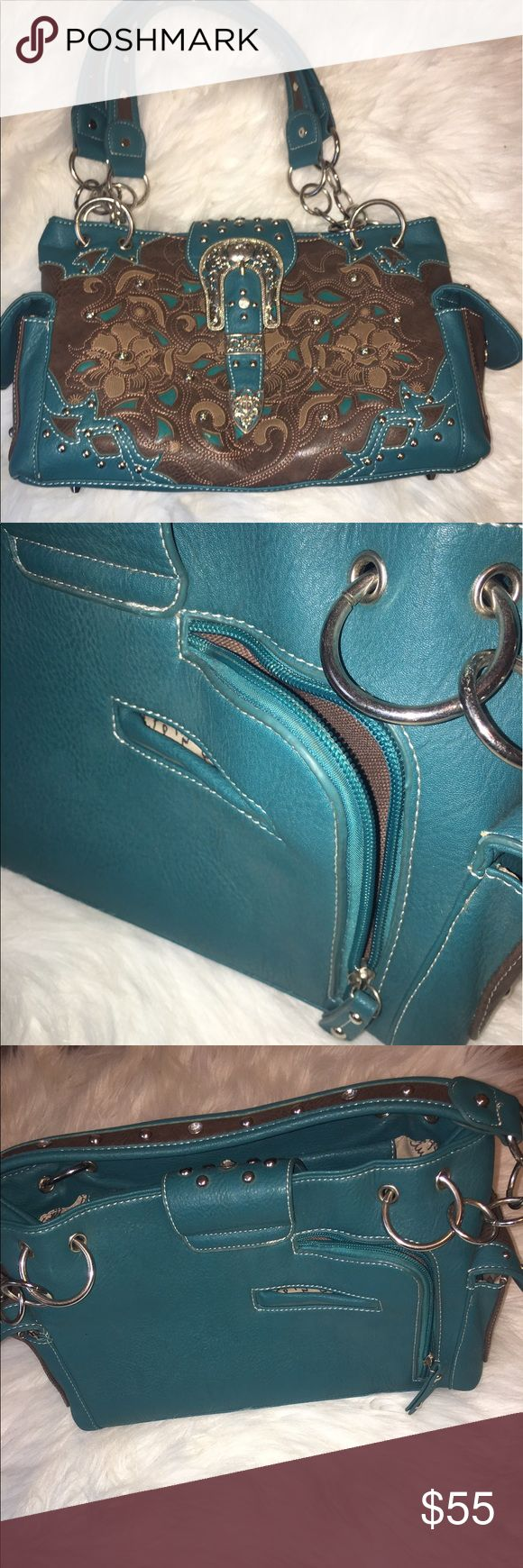 Texas style teal purse In good condition, very well made leather! concealed weapon pocket. Local boutique. Paid $110 Bags Shoulder Bags