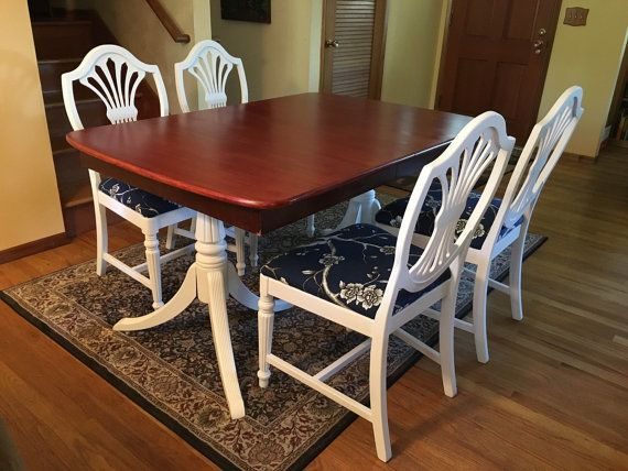 SOLD *** Duncan Phyfe Style Dining Table, 3 Leaves U0026 4 Shieldback Chairs  ***SOLD