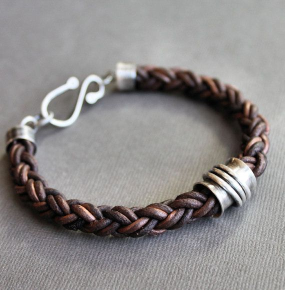 Mens Leather Bracelet Thick Brown Braid with Sterling Silver Spinner Tube