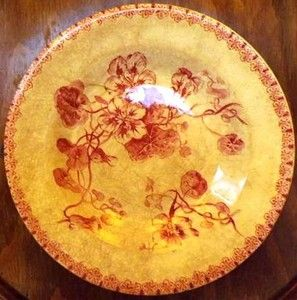 Assiette creuse Terre de fer, porcelaine opaque de Gien, modèle Capucines (fin XIXème, début XXème))