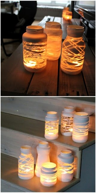 Great idea for evening lighting...put string around a jar, spray paint 2-3 coats of white paint, once dry pull off string and add tea light. Voila!!! gorgeous evening lighting!