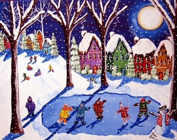 Winter Snow Kids Ice Skating Sled Riding Fun Whimsical Folk Art Painting