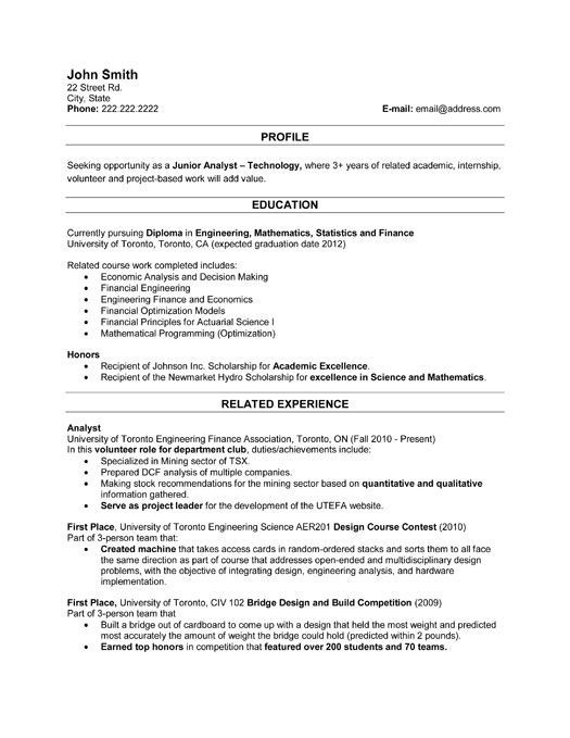 u of t resume examples
