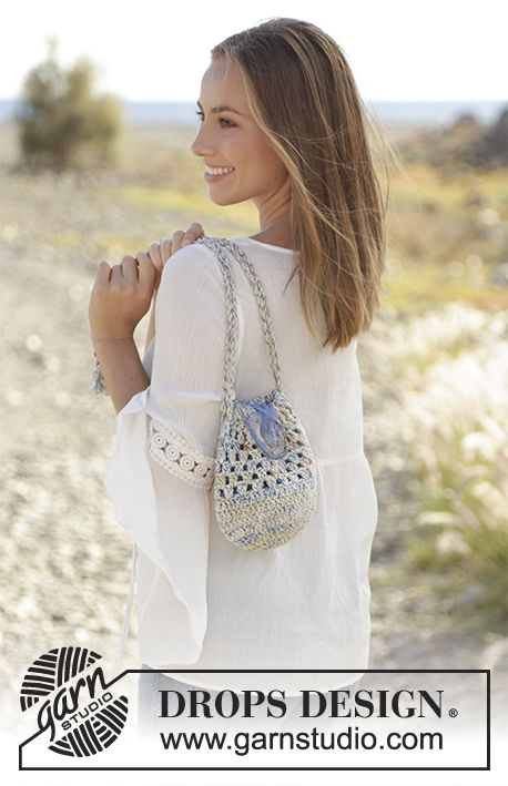 Pearl Hunt - Bag with treble crochets and treble crochet groups, crocheted in DROPS Fabel and DROPS Paris or DROPS Bomull-Lin. Free crochet pattern DROPS 178-70