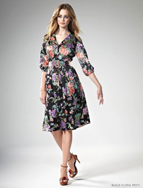 Get Frocked! with Leona Edmiston www.leonaedmiston.com.au Hazel Dress silk floral dress | black floral dress | midi dress