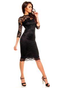 Společenské šaty značkové MAYAADI 283 B krajkové s dlouhým rukávem středně dlouhé černé