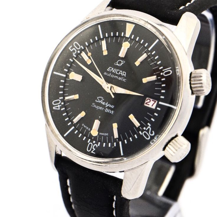 Very rare and beautiful Enicar SHERPA SUPER DIVE watch made in the 60ies. Fine automatic caliber AR 1145. Collector's piece. Find more details at our website, watch-time ID 70. #enicar #sherpa #super #dive #diving #automatic #vintage #watch #vintagewatch